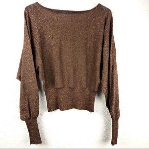 Saks Fifth Avenue Folio Brown Metallic Sweater SM